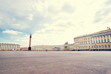Russia, Saint-Petersburg, Palace Square at day time, Winter Palace, Hermitage, Alexander Column.
