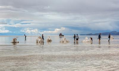 UYUNI, BOLIVIA - JANUARY 05, 2014: Salar de Uyuni is largest salt flat in the World (UNESCO World Heritage Site) - Altiplano, Bolivia, South America