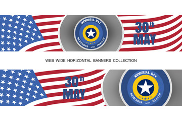 Vector set of Memorial Day banners with paper stripe cut from paper with american flag, blue label, shadows on the gray background.