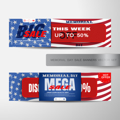Vector set of Memorial Day big and mega sale banners with red paper stripe cut from paper, red ribbon with text, shadows on the background with american flag.