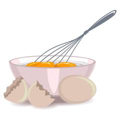 Vector Illustration of Whisking the Egg Yolk in the Bowl