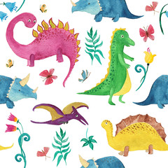 Watercolor painting seamless pattern with cute dinosaurs