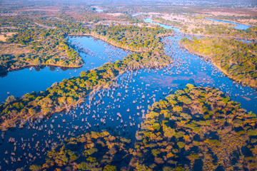 Okavango delta (Okavango Grassland) is one of the Seven Natural Wonders of Africa (view from the airplane) - Botswana, South-Western Africa