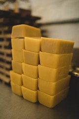 Beeswax bars in factory
