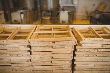 Honey wooden frames in factory