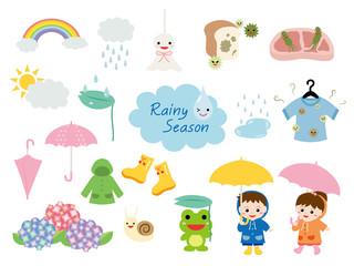 梅雨 イラストセット