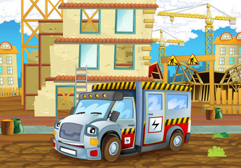 cartoon scene of a construction site with heavy truck concrete mixer - illustration for children