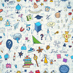Seamless pattern with set of different school things.Doodle seamless background with school icons.