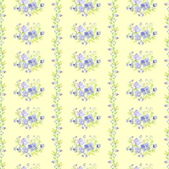 Seamless delicate pattern of spring flower bouquets. Floral striped background for wallpapers, textile, book covers, manufacturing, tapestry, print, gift wrap, scrapbooking. Trendy colors millefleurs.