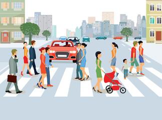 Städtische Gemeinde mit Personen und Autoverkehr