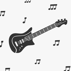 Guitar Silhouette and Notes Vector Illustration