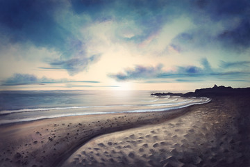 Idyllic beach during sunset - Digital Painting