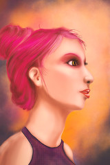 Young girl with pink hair - Digital Painting