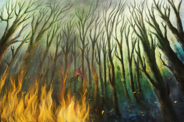 Fire burning in a forest with lot of smoke - Digital Painting