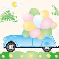 Little blue car with balloons sun palm daisies abstract art creative vector illustration