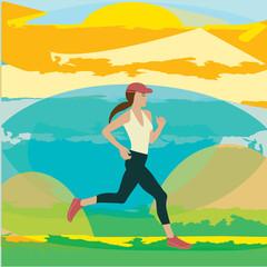 Running athlete woman abstract sunny landscape art creative modern vector illustration minimalism flat style