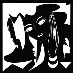 Masks images female male black and white abstract modern creative art illustration minimalism flat style vector