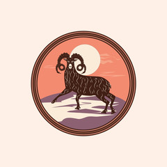 Sheep mountain landscape abstract modern creative art illustration minimalism flat style vector isolated light background Logo Animal World Tourism