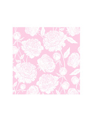Seamless floral pattern with peonies. White flowers on a pink background.