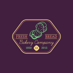 Vintage bakery logo. Vector cupcake label. Sweet cookie typographic poster. Hipster pastry icon. Desert emblem.