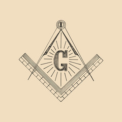 Masonic square and compass symbol, emblem, logo. Freemasonry vector illustration.