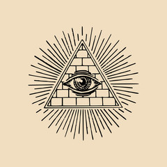 All-seeing eye. Freemasonry pyramid vector illustration. Engraving masonic logo, emblem.