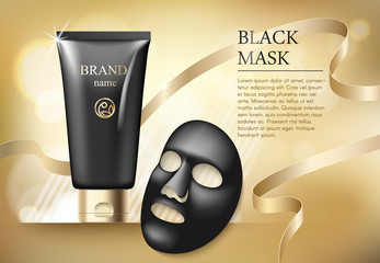 Ads template, blank skin care mockup with realistic black anti blackhead mask, plastic tubes of premium skincare product and gold tape on golden bokeh background.