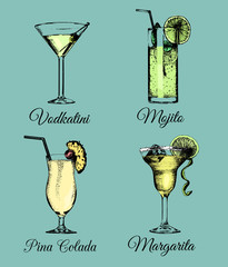 Cocktails and glasses. Hand sketched color alcoholic beverages. Vector set of drinks illustrations,Vodkatini,Mojito etc.
