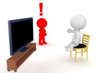 3D Character is angry that his friend is lazy and watches too much tv