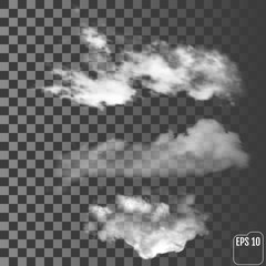 Realistic clouds on a transparent background. Vector illustration