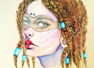 Watercolor picture. Girl with dreadlocks in a mask