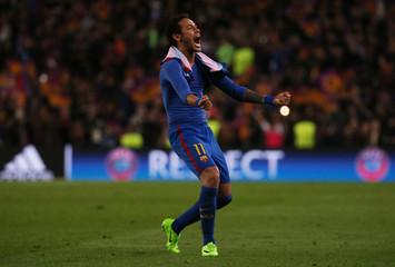 Barcelona's Neymar celebrates after the game