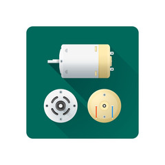 vector electric motor flat illustration.