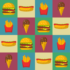 Fast food seamless patterns vector background