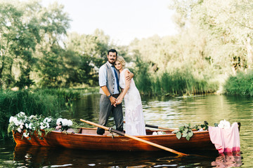 Amazing wedding couple on the boat