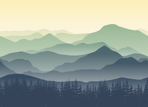 Green mountains landscape in summer. Seamless background. Vector illustration of nature for your design