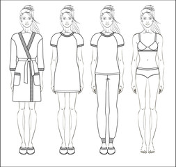 Set of women homewear, sleepwear and underwear. Bathrobe, nightgown, pyjama and lingerie on female figure. Vector illustration.
