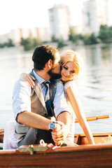 Wedding couple in the boat