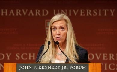Brainard speaks at the John F. Kennedy School of Government at Harvard University in Cambridge