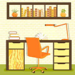 Vector illustration of home library with table, chair, lamp