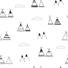 Indian wigwams minimalistic seamless background. Black and White Pattern. Wigwams, mountains and clouds