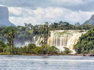 The Hacha falls in the lagoon of Canaima national park - Venezuela, Latin America