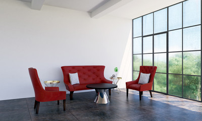 The living room interior design 3d rendering and red sofa