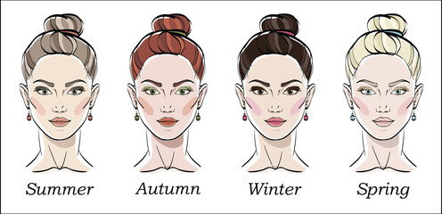 Seasonal color types for women skin beauty set: Summer, Autumn, Winter, Spring. Young female faces, make up shades matching each type. Vector illustration.