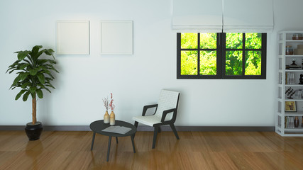 the interior style minimalist Living small area (3D Rendering)