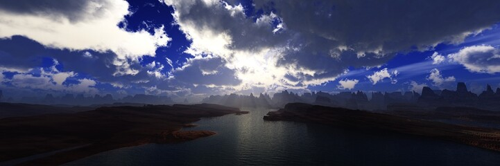 Panorama of the canyon at sunset, beautiful mountain landscape with a river, 3d rendering