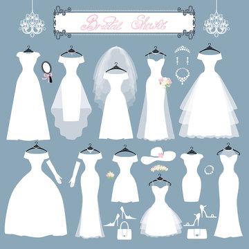 Wedding dresses,accessories set.Fashion flat silhouette