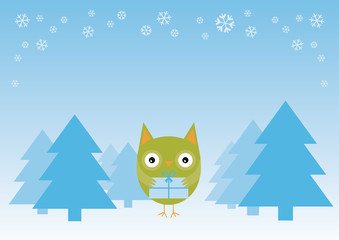 Happy Holiday Owl - Illustration
