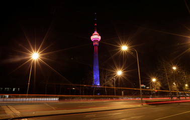 The China Central Radio and Television Tower is pictured before Earth Hour in Beijing
