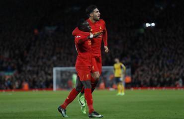 Liverpool's Sadio Mane celebrates scoring their second goal
